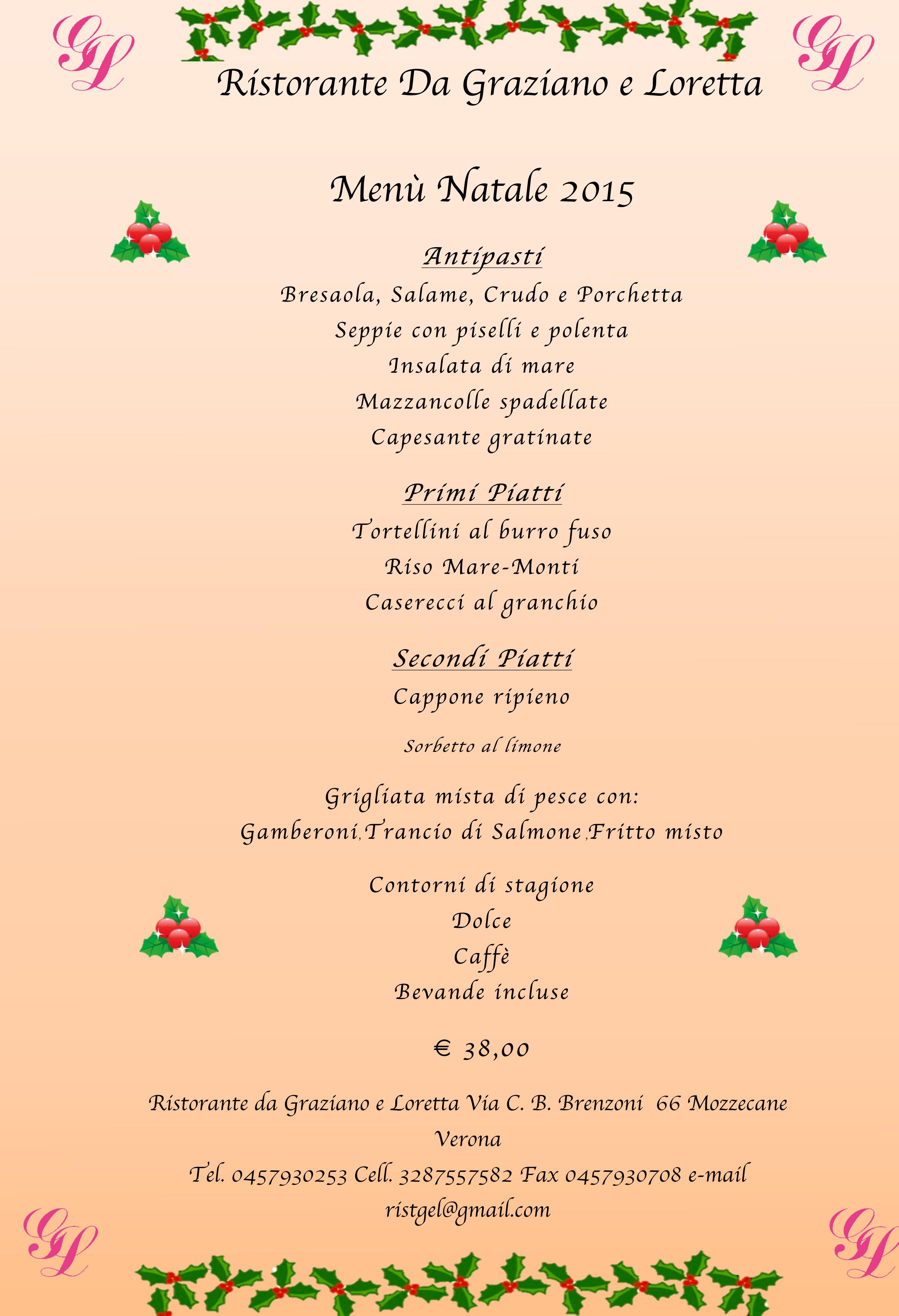 Menu Per Il Pranzo Di Natale 2019.Le Serate Danzanti Di Graziano E Loretta A Mozzecane